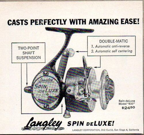 1958-Print-Ad-Langley-Spin-deLuxe-Model-830-Fishing-Reels-San-Diego-CA