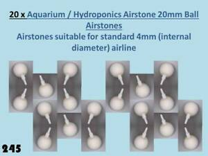 20 X 20 Mm Diamètre Balle Blanc Airstones Pour Standard Aquarium 4 Mm Airline 245-afficher Le Titre D'origine Excellente Qualité