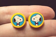 vintage Snoopy happy dog on parade round yellow stud earrings Avon Peanuts 1990