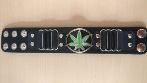Hierba marihuana leaf Pulsera Pulsera Brazalete Ancho Brazalete de cuero de imitación