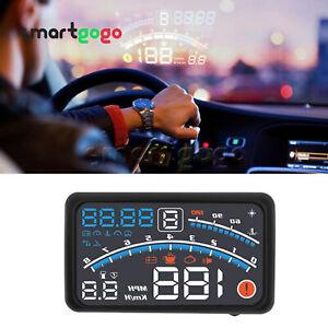 """5.5"""" Car HUD Head-Up Display OBD2 Dashboard Speedometer Projector Warning BSG"""