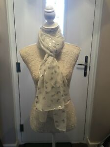 White Scarf With Silver foil Butterflies Butterfly Shawl Scarves Ultra Soft gift