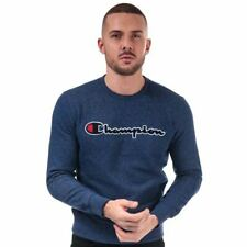 Men's Champion Large Logo Crew Neck Comfort Fit Sweatshirt in Blue