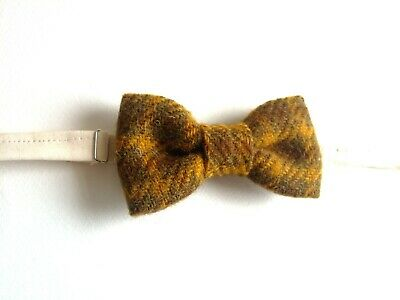 Superb Reviews Country Mustard Yellow /& Blue Check Tweed Wool Pre-Tied Bow Tie