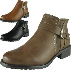 Womens-Ladies-Studs-Buckle-Strap-Chelsea-Booties-Low-Heel-Ankle-Boots-Shoes-Size