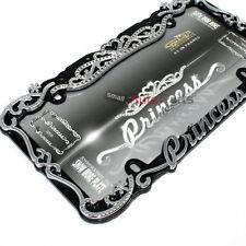Princess Chrome-Black Bling Diamond License Plate Tag Frame for Auto-Car-Truck