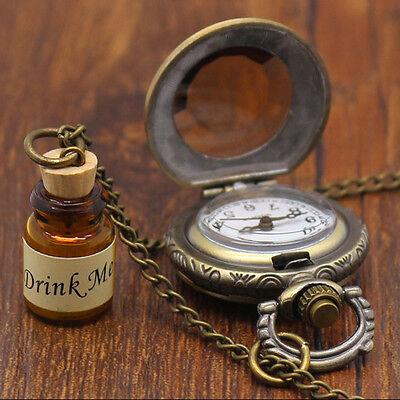 Drink Me Wishing Bottle Pocket Watch Alice In Wonderland Long Necklace Beauty