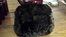 Vintage Genuine BLACK  FUR MUFF W/SATIN LINING Perfect Condition