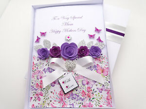 Personalised Handmade Mothers Day//Mum Birthday Card 40th 50th 60th with BOX