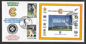 ANTIGUA-amp-BARBUDA-2000-LORD-039-S-CRICKET-100th-TEST-MATCH-2v-amp-S-Sheet-FDC