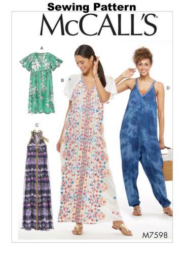 McCalls M7598 PATTERN Misses Dresses /& Jumpsuit Size 6-22