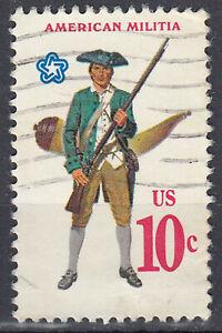 USA-Briefmarke-gestempelt-10c-Americian-Militia-1753