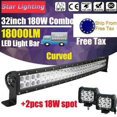 2pcs 32inch Curved 180W LED Work Light Bar Combo OffRoad SUV Lamp Car Light 4WD