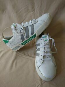 Adidas Neo Blanco Gris Y Verde Adorno Zapatillas Tamaño 8 G.c | eBay