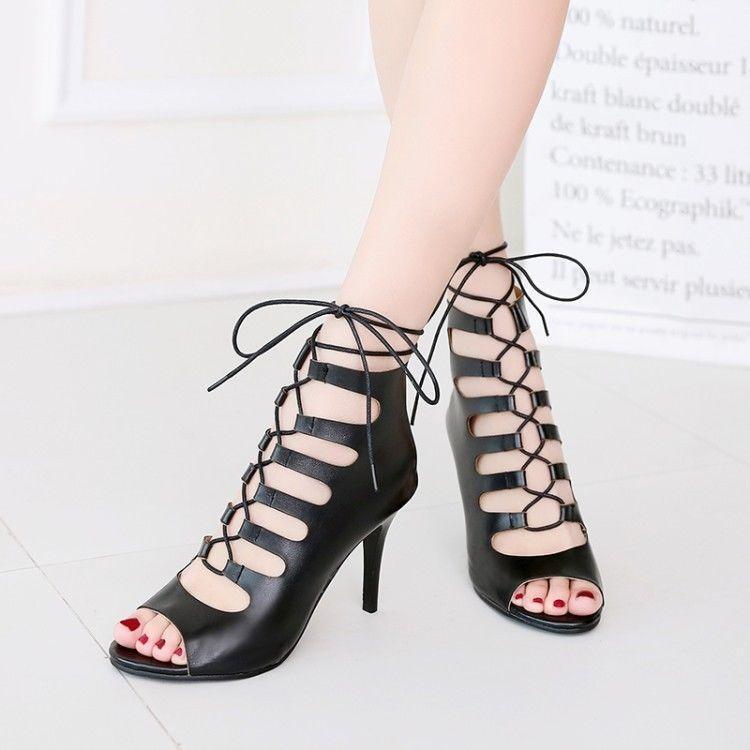 Womens Ladies Roman Gladiators Hollow Out Lace Up Kitten Heels Stilettos shoes