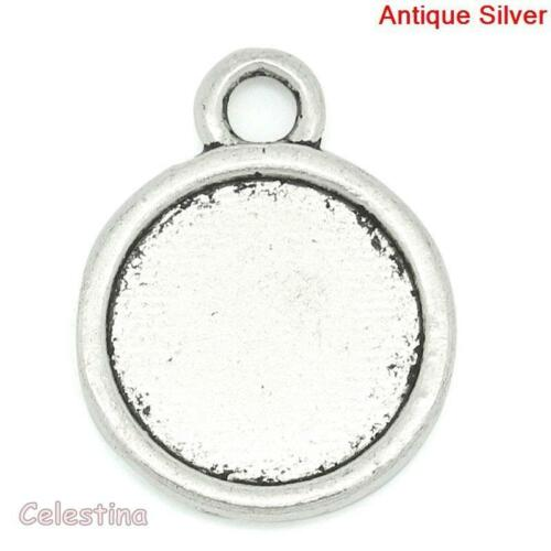 20 Silver Cabochon Settings Bezel Trays 19mm x 15mm Metal Pendants CLEARANCE