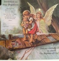 12 Baptism Invitations - Guardian Angel With Envelopes- Made In Italy