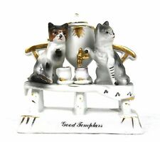 Antique Victorian German Fairing Good Templars Cat Tea Time Samovar