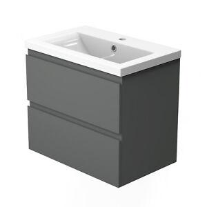 500 Grey Bathroom Vanity Unit with Sink Wall Hung Storage ...