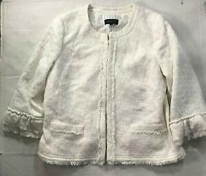 Talbots Button Front Cotton Blend Jacket White Women's 16 Ivory