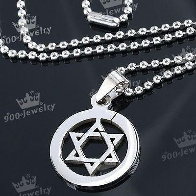 Jüdisch David-Stern Edelstahl Hexagramm Anhänger + Kette Halskette Punk Cool