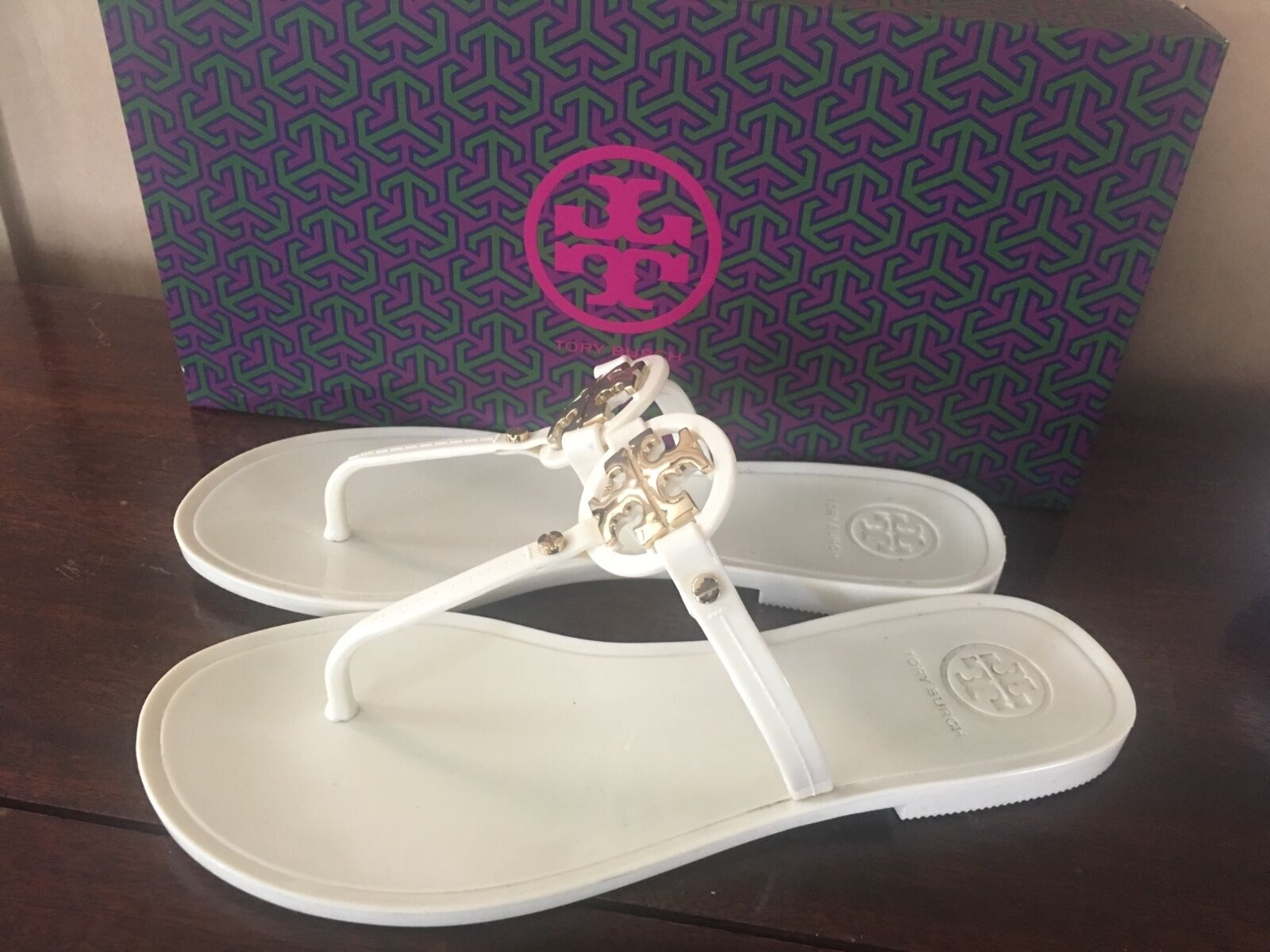 Tory Burch Mini Miller Crystal Jelly Flip Flop Slide Sandale Schuhes Flats sz6