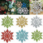 24Pcs New Glitter Snowflake Christmas Ornaments Xmas Tree Hanging Decoration