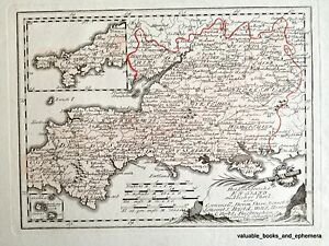 Map Of England Cornwall.Details About Antique Map England Cornwall 1789 Atlas West British Devon Oxford Reilly German