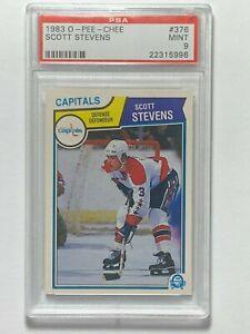 1983-O-Pee-Chee-OPC-Scott-Stevens-376-NHL-Rookie-RC-Card-PSA-9-MINT-Devils