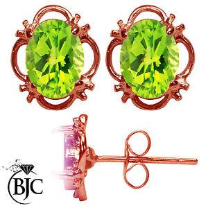 BJC-9ct-Rose-Gold-Natural-Peridot-Single-Stud-Filigree-Earrings-Studs-1-50ct