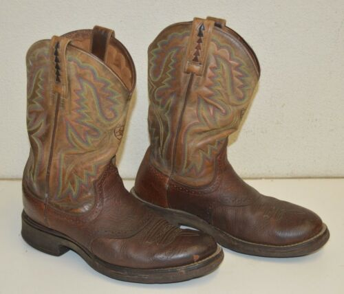 Vintage ARIAT Cowboy Boots Brown & Colorful Leathe