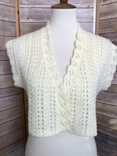Vintage Womens Short Sleeve Hand Knit Sweater Cro… - image 1