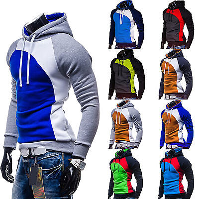 Hoodies Mens Sweater Hooded Sweatshirt Jumper Tops Slim Coat Color Block Shirt