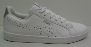 Puma-Size-9-SMASH-PERFORATED-METALLIC-White-Leather-Sneakers-New-Womens-Shoes