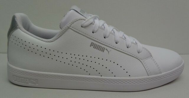 01758c75e836 Puma Size 8 SMASH PERFORATED METALLIC White Leather Sneakers New Womens  Shoes