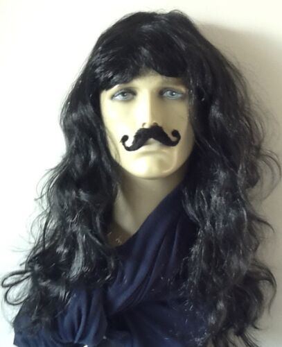 "/""Pirate Wig/"" Men/'s Long Black Curly Fancy Dress Wig With Fancy Moustache"