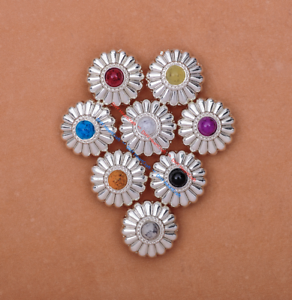 10X-Bling-Silver-Flower-Turquoise-Conchos-For-Leather-Craft-Belt-Wallet-Decor