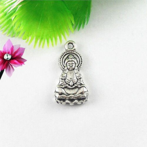 40pcs Antique Silver Mini Buddha Alloy Pendants Findings Crafts Charms 51644