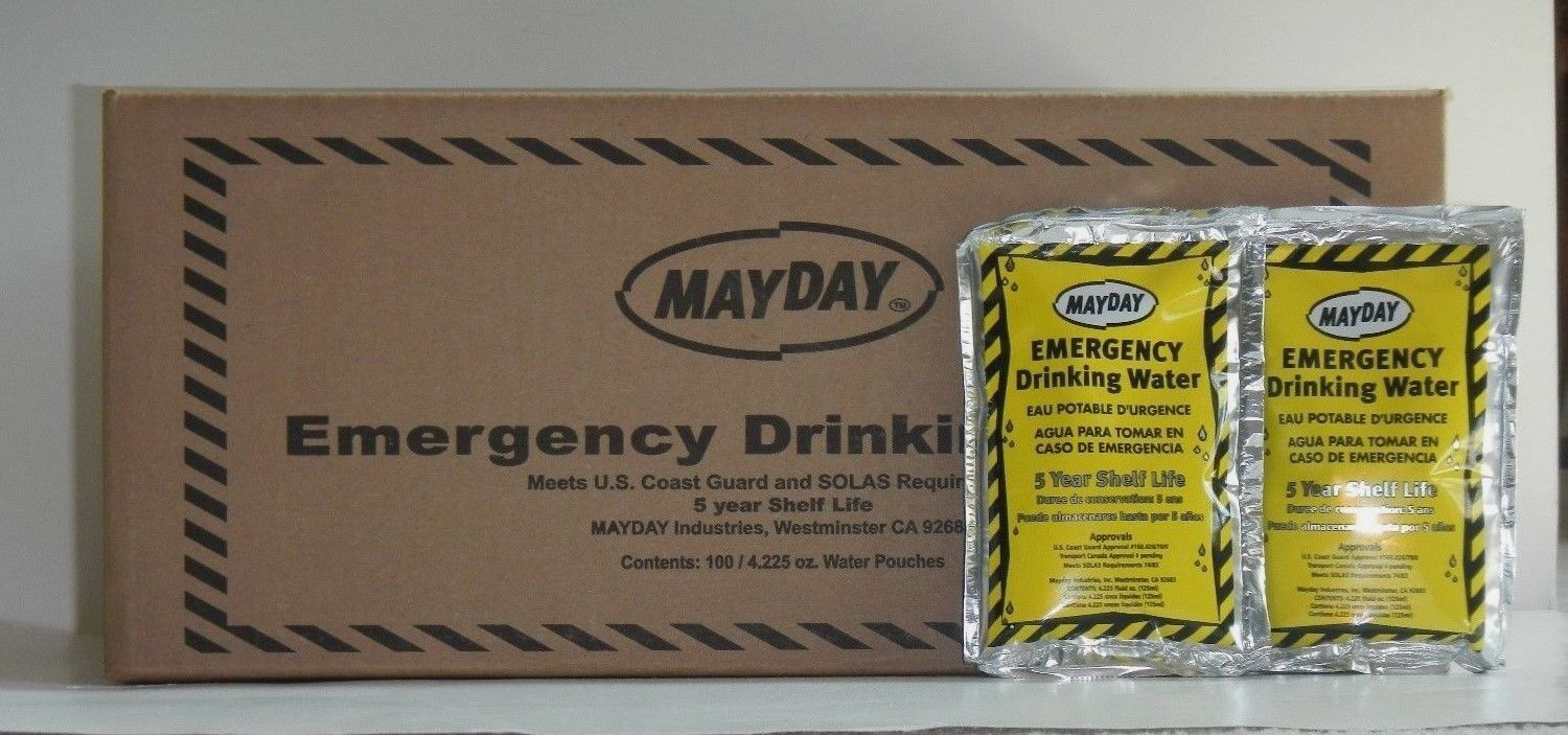 Emergency Drinking Water CASE 100 Pouches (4.2 OZ). Mayday Survival- WA44 MRE