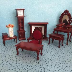 Vintage-Mini-Dollhouse-Furniture-Carved-Chairs-Miniature-Kids-Pretend-Play-Toys