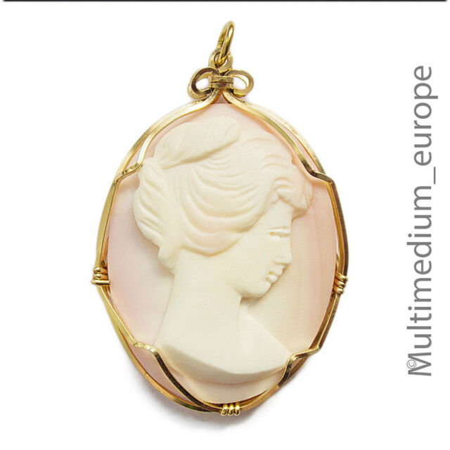 Engelshaut Koralle Kamee Gold Anhänger Coral Cameo pendant