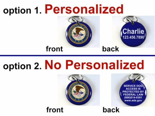 Service Dog ADA blue Department of Justice custom tag for pets by ID4PET