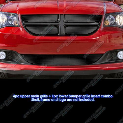 For 2011-2013 Dodge Grand Caravan Black Billet Grille Grill Comnbo Insert