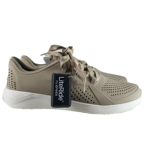 Crocs Men's LiteRide Pacer Sneaker, Cobblestone/White, Size 7 US,  6 UK.  NIB