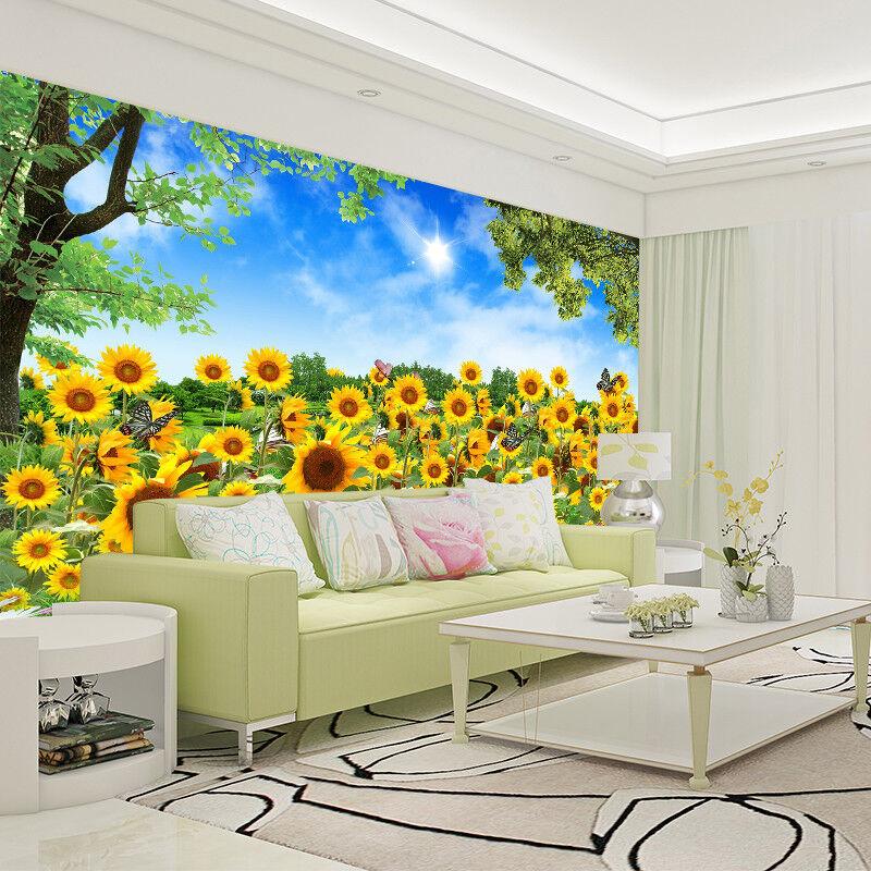 3D Sunflowers Sun 4 Wallpaper Murals Wall Print Wallpaper Mural AJ WALL AU Kyra