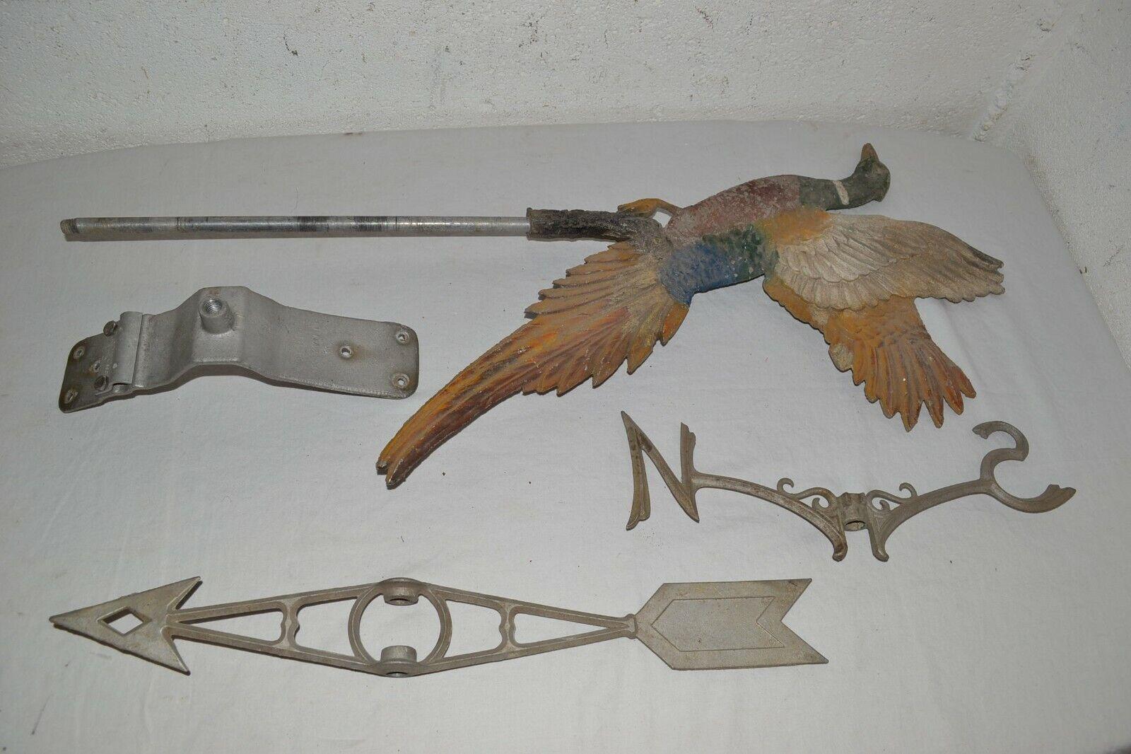 Vtg ROBBINS Flying PHEASANT hunting hunter ALUMINUM WEATHERVANE game bird PARTS