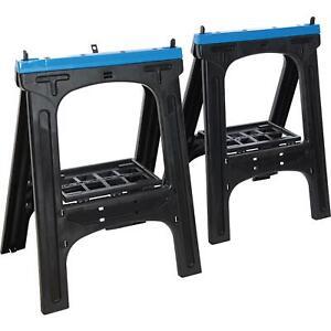 Silverline 2pc Trestles Portable Folding Plastic Saw Horse Max Load 200kg