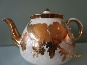 VTG-Gold-Beige-Gibsons-Staffordshire-Teapot-England-1940s-numbered-collectible
