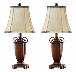 Kings-Brand-Antique-Brushed-Red-With-Light-Brown-Shade-Table-Lamps-Set-of-2
