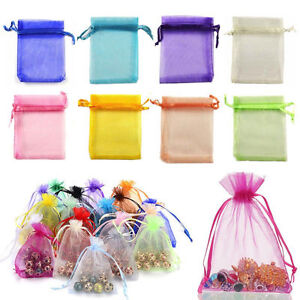 100 50 25pcs 9*12cm Coralline Organza Jewelry Pouch Wedding Party Favor Gift Bag